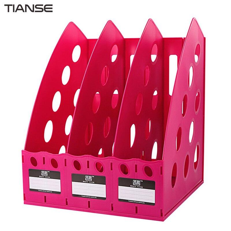 TIANSE Мультифункциональный толстый TS-1305 пластик 3 секции разделитель стойка для документов домашний офис настольный полка для хранения