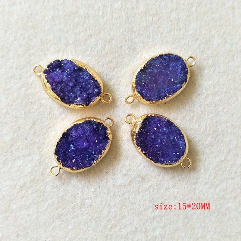 Colorful Natural Geode Slice Druzy Gold Plated DIY Necklace Bracelets Connectors
