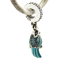 Tropical Parrot Hanging Pendant 925 Sterling Silver Charms with Blue Enemal & Mixed Cz Diy Jewelry Fit Charm Bracelets PF401