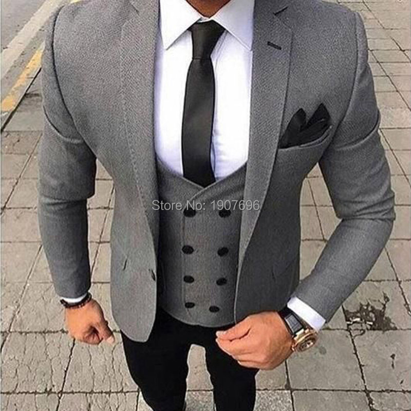 Three Piece Casual Men Suits 2019 Gray Jacket Double Breasted Vest