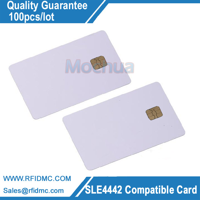 Blank White SLE4442 contact chip pvc smart card 20pcs lot contact sle4428 chip gold card with magnetic stripe pvc blank smart card purchase card 1k memory free shipping