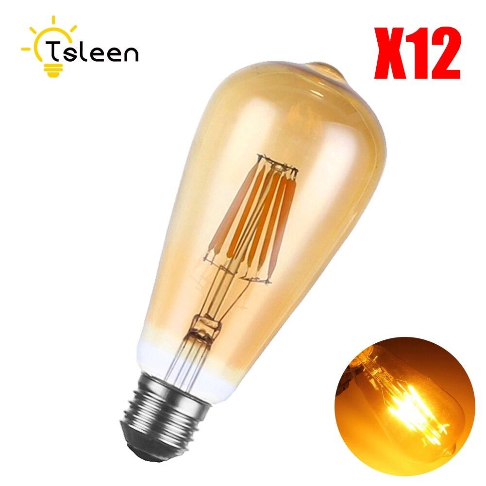 Cheap Wholesale 12PCS Dimmer E27 ST64 16W Warm White  Dimmable COB LED Filament Bulbs AC 220V 110V Filament Vintage Bulb Light