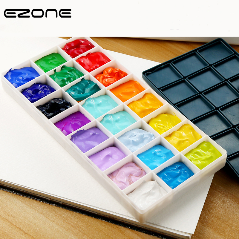 EZONE 10/24/36/48 Grids Color Palette Soft Rubber Cover Plastic Palettes For Watercolor Gouache Acrylic Painting Kid Art Supply