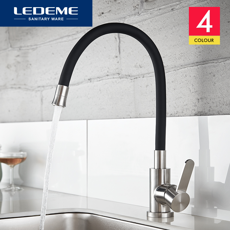 цена на LEDEME Newly Design Kitchen Faucet 360 Swivel 100% Solid Brass Single Handle Mixer Sink Tap Pull Out Down Chrome Finish L74004