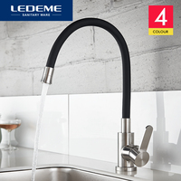 LEDEME Newly Design Kitchen Faucet 360 Swivel 100% Solid Brass Single Handle Mixer Sink Tap Pull Out Down Chrome Finish L74004
