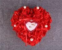 โรสแหวนหมอนเครื่องประดับกล่องแหวนแต่งงานของขวัญกำมะหยี่รูปหัวใจสีแดงแบบรักกล่องสำหรับ...