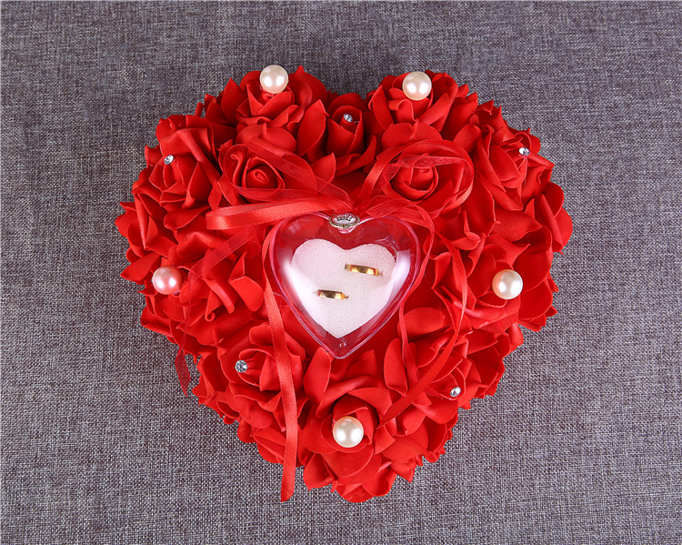 Rose Ring Pillow Jewelry Ring Box Wedding Gift Velvet Heart Shaped Red Pattern Love Box for Weddings Decoration
