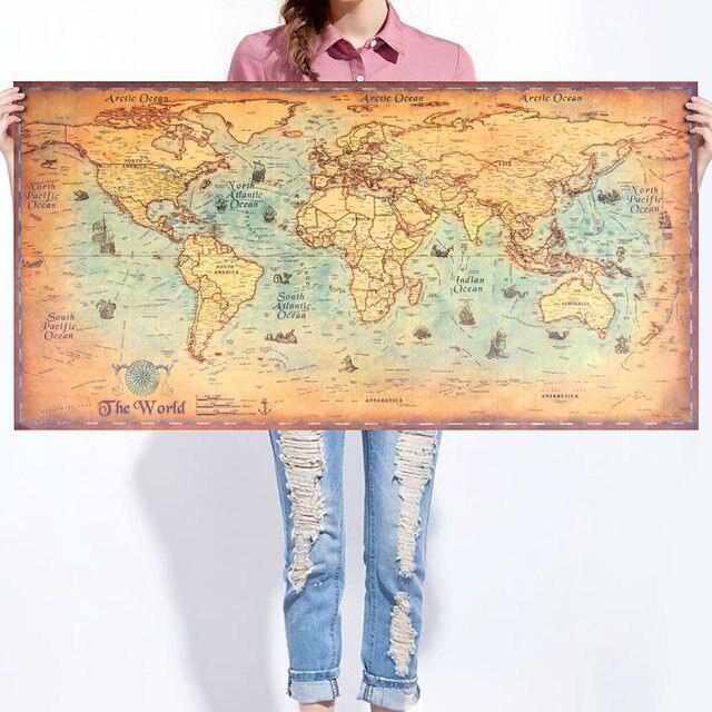 World Map Kraft Paper Paint vintage Wall Sticker Poster Living Room ...