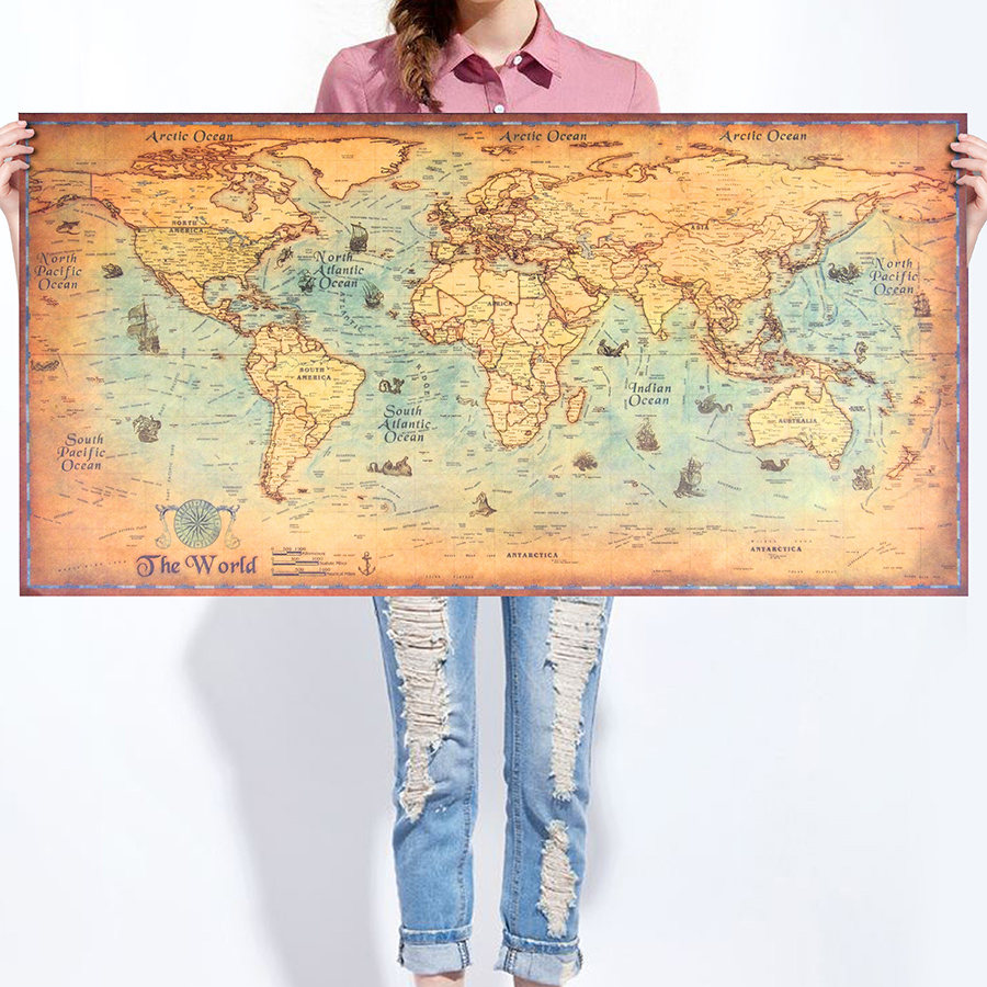 World Map Kraft Paper Paint vintage Wall Sticker Poster Living Room Art  Crafts World Maps barCompare Prices on Poster Paint  Online Shopping Buy Low Price  . Cost To Paint A Large Living Room. Home Design Ideas