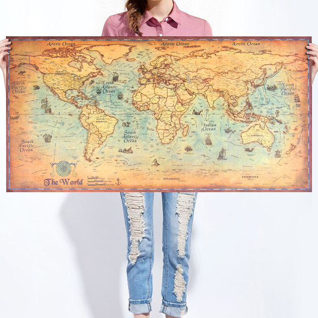 World Map vintage Wall Sticker Poster Living Room Art Crafts World ...