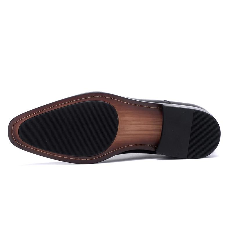 brown Cuero Oxfords Más Oficina Genuino Negro Superior Formal De 38 Zapatos 46 Black Calidad Tamaño Los Marrón Vestido Hombres 50nwU