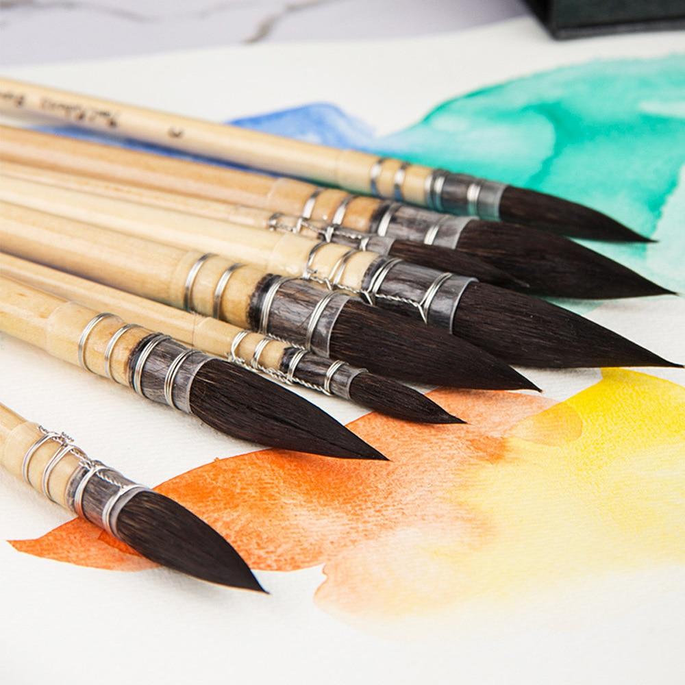 Paul Rubens Artistic Brushes Handmade Squirrel Hair Artist Watercolor Paint Brush Set For Watercolor Painting Art Supplies