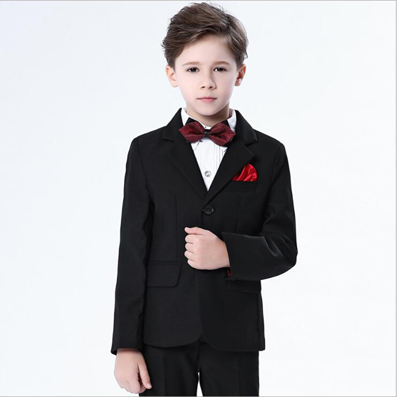 4pcs Boys Suits For Weddings Kids Prom Children Clothing Sets Boy Classic Costume Piano costumes For Boys Coat Pant Shirt children s suit male flower girl dress boy piano costumes british floral suits big children s clothing boys suits for weddings