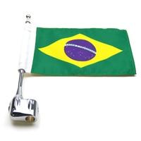 New Chrome Motorcycle Rear Side Mount Flag Pole Brazil Flag For Honda GoldWing GL1800 2001 2011 Luggage Rack