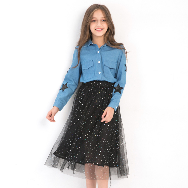 Girls Fall Clothes Two-piece Girls Sets Denim Blouse Sequined Mesh Skirts Size 8 10 12 14 years Autumn Teenage Girls Clothing alfani new bright white sequined chevron print blouse women s size xs $69 384