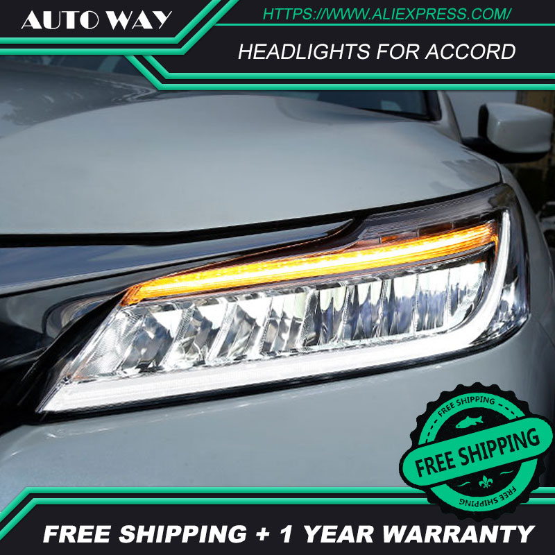 Car Styling Head Lamp case for Honda Accord Headlights 2016 2017 LED Honda Accord Headlight LED Option Angel Eye Bi LED car styling for honda accord headlights angel eyes 2011 2013 for honda accord head lamp h7 xenon led drl
