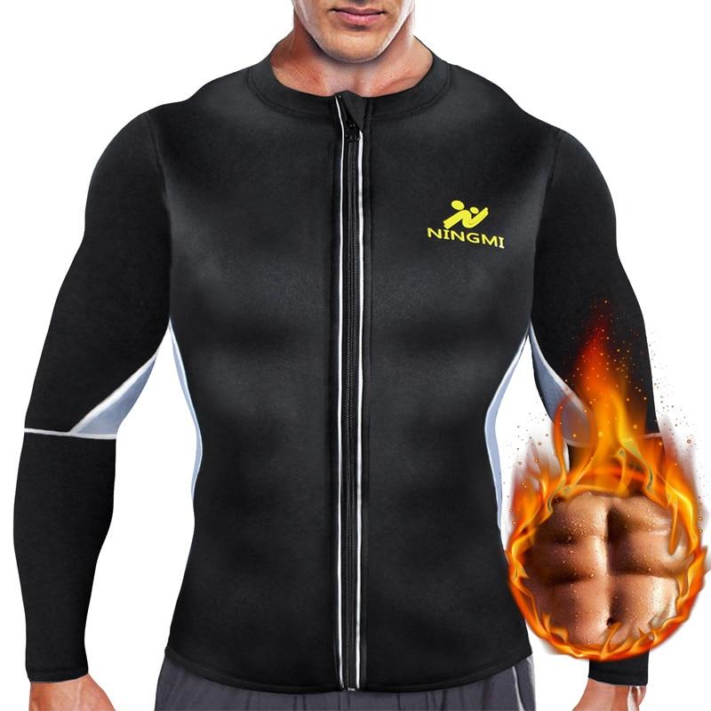 NINGMI Slimming Belt Men Waist Trainer Corset Vest Jacket with Zipper Hot Shirt Neoprene Sauna Weight Loss Body Shaper Tank Tops-in Shapers from Underwear & Sleepwears