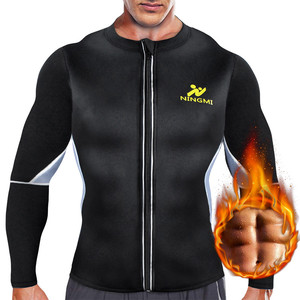 Image 1 - NINGMI Slimming Belt Men Waist Trainer Corset Vest Jacket with Zipper Hot Shirt Neoprene Sauna Weight Loss Body Shaper Tank Tops