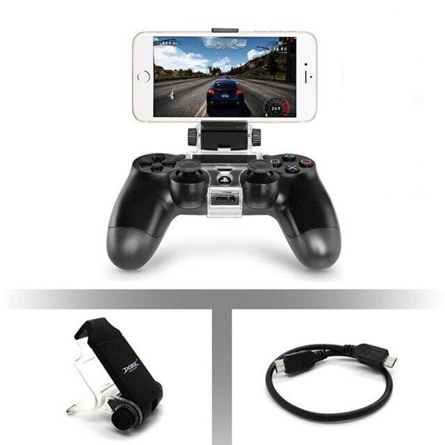 Controlador de jogo gamepad extensível com suporte do telefone móvel braçadeira holder clip mount cradle com cabo otg para sony playstation 4 ps4