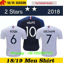 2018 new 2 stars frenching shirt frence Soccer Jerseys MBAPPE GRIEZMANN  POGBA Jersey football t shirts maillot france 2 etoiles 7330881b9