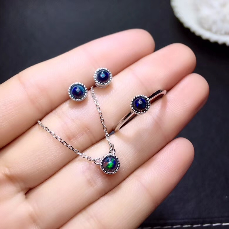 Classical simple round Natural black opal jewelry sets natural gemstone ring Necklac Earrings S925 silver girl gift jewelryClassical simple round Natural black opal jewelry sets natural gemstone ring Necklac Earrings S925 silver girl gift jewelry