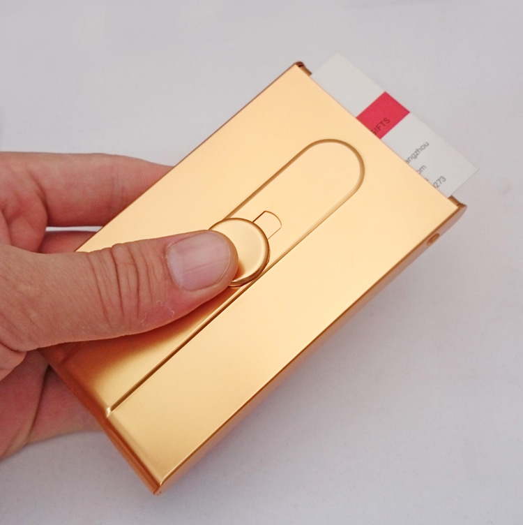 Tuhao gold karte box business männer automatische visitenkartenhalter kreative push stil frauen cardcase visitenkarte box