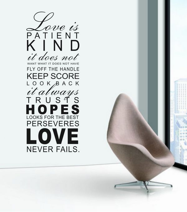 Aliexpress Com Buy Love Is Patient Kind Wall Word Art Decals Home Decor Wall Decorations From Reliable Decor Wall Decor Artwork Suppliers On Ideal