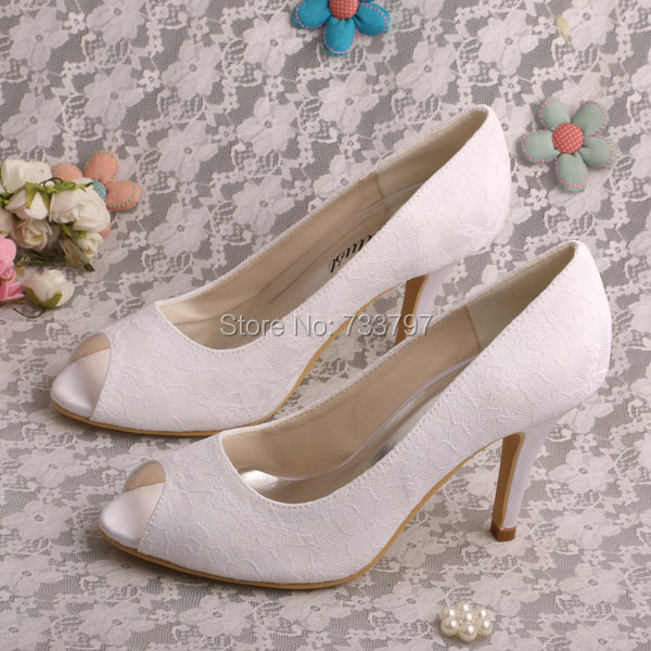 Wedopus Customize Handmade White Lace Bridal Shoes Peep Toes Dropship