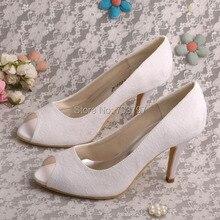 Wedopus Настройка Ручной Белое Кружево Свадебная Обувь Пищу Пальцами Dropship