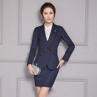 Frauen Anzüge Formale Büro Uniform Designs Rock Anzüge Arbeiten 2 Stück Set Frauen Zweireiher Blazer Streifen + Minirock