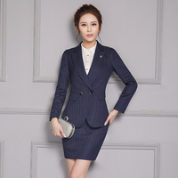 Women Business Suits Formal Office Uniform Designs Skirt Suits Work 2 Piece Set Women Double breasted Blazer Stripe + Mini Skirt