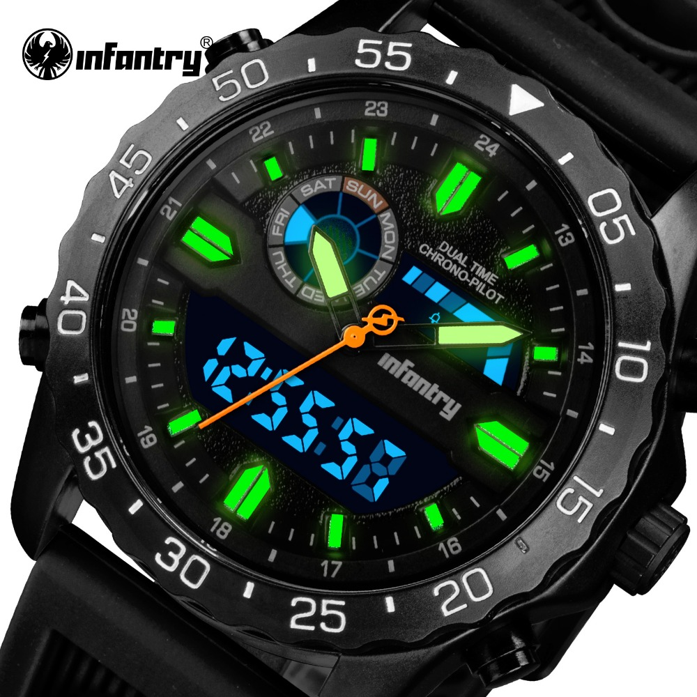 INFANTRY Relogio Masculino Mens Watches Top Brand Luxury Silicone Analog Digital Quartz Watch Men Military Waterproof Wristwatch infantry mens watches relogio masculino date quartz watch black durable nylon strap top brand luxury tactical military watches