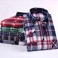 NCLAGEN Coreano Camisas de La Raya de Los Hombres Camisas Casuales Musculares Slim Fit Lijado de Manga Larga Camisa de Tela Escocesa Roja 20 Colores Tamaño Social S-4XL