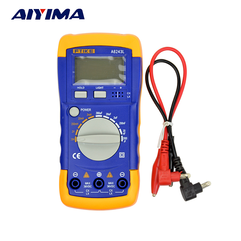 A6243L Digital LCD Capacitance Inductance LCR Meter Tester Multimeter 200  20H aquapulse 4122b grey black