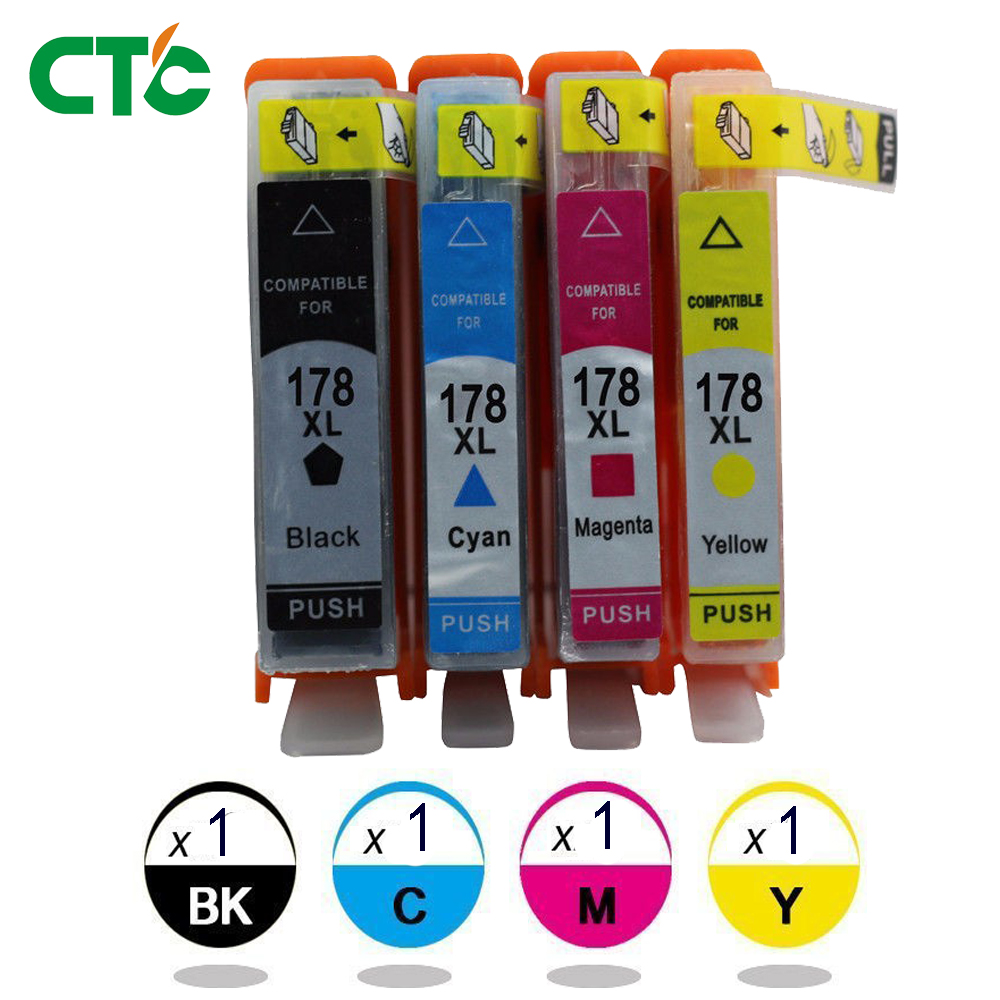4x Ink Cartridge 178XL with Chip for PhotoSmart C6380 C6300 C5300 C5383 C5380 printer