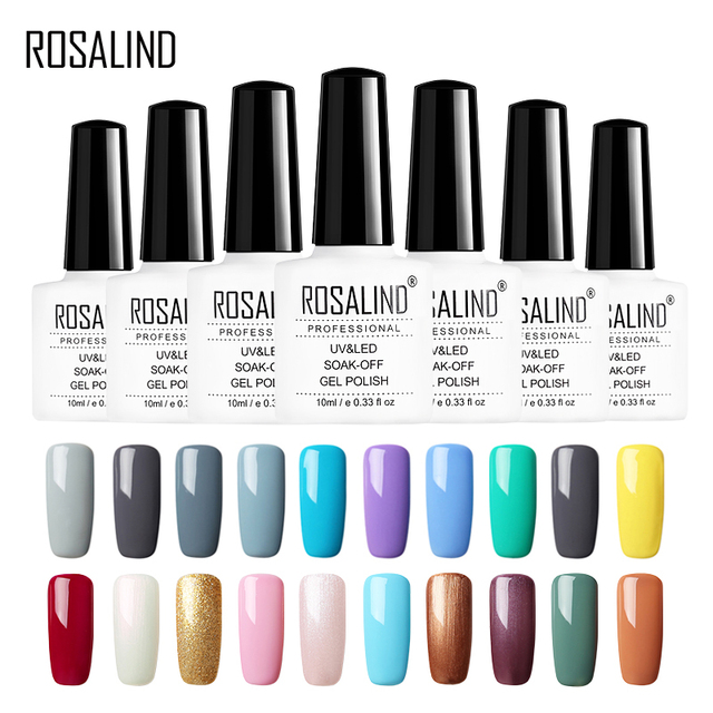 ROSALIND UV Gel Nail Polish Pure Colors Series Nail Design Foundation For Nails Semi Permanent For Manicure Top Coat Gel Varnish