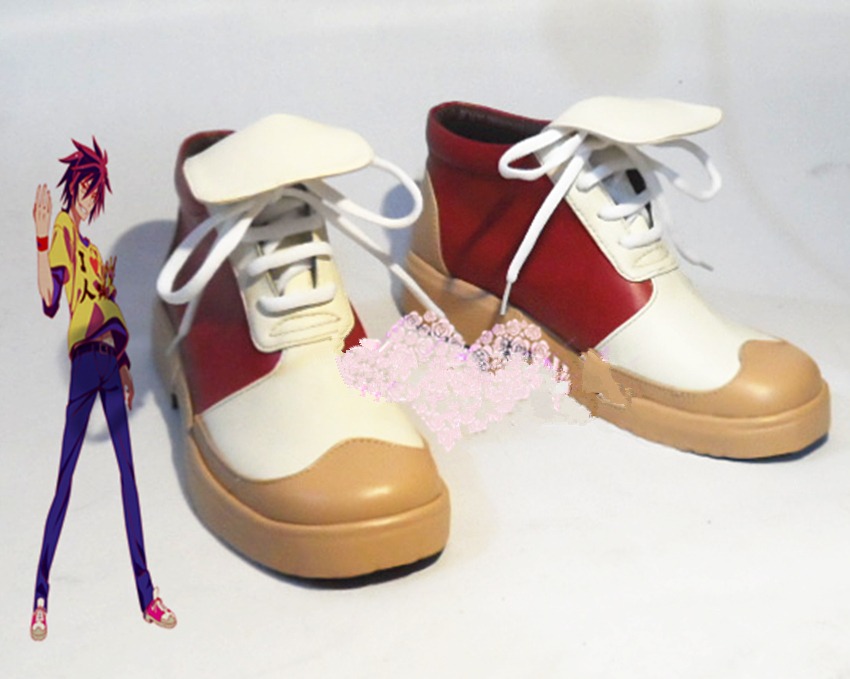 Anime GAME NO LIFE Sora Rose Gradient Cosplay Costume Boots Shoes