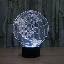 3D visual effect America map shape globe shape LED night light for decoration ball atmosphere DIY night lamp