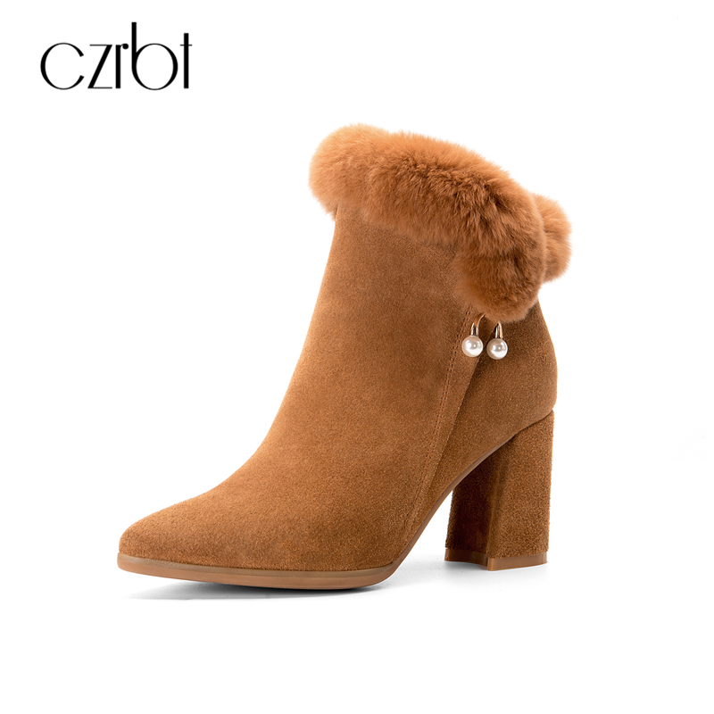 CZRBT Genuine Leather Women Boots Winter Warm Short Plush Thick Heel ZIpper Ankle Boots Cow Suede Rabbit Fur High Heel Boots new arrival superstar genuine leather chelsea boots women round toe solid thick heel runway model nude zipper mid calf boots l63