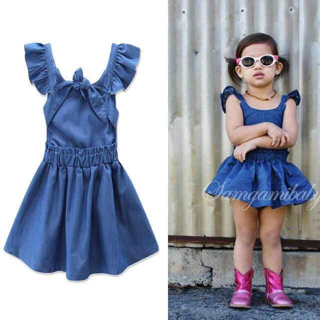 Classic Denim Baby Girls Fashion Dresses Summer Girl Dress Fly