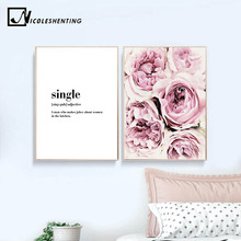 Pink Rose Blossom Wall Art Canvas Posters and Prints Flower Painting Scandinavian Style Decorative Picture Bedroom Decoration
