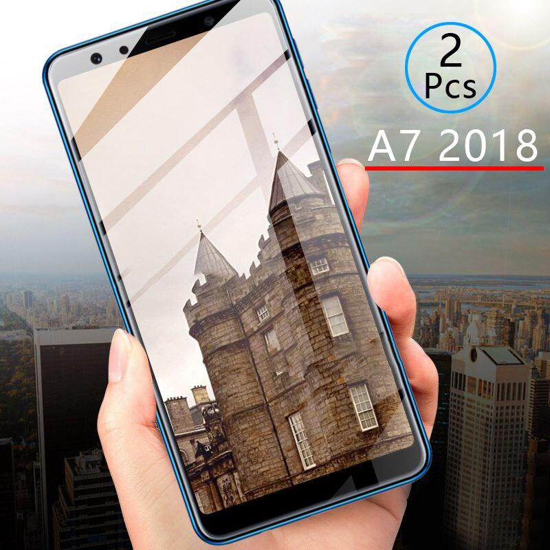 2 pièces verre de protection pour Samsung A7 2018 verre trempé protecteur d'écran couverture complète sécurité Tremp sur Galaxy A 7 7a A72018 A750