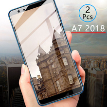 2pcs Protective Glass For Samsung A7 2018 Tempered Glass Screen Protector Full Cover Safety Tremp On