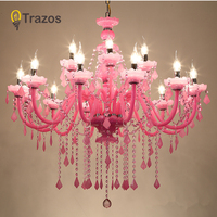 2019 Light Chandelier Modern Pink Large chandeliers Luxury Modern Chandelier Lighting fashion Luxury Pink transparent K9 Crystal