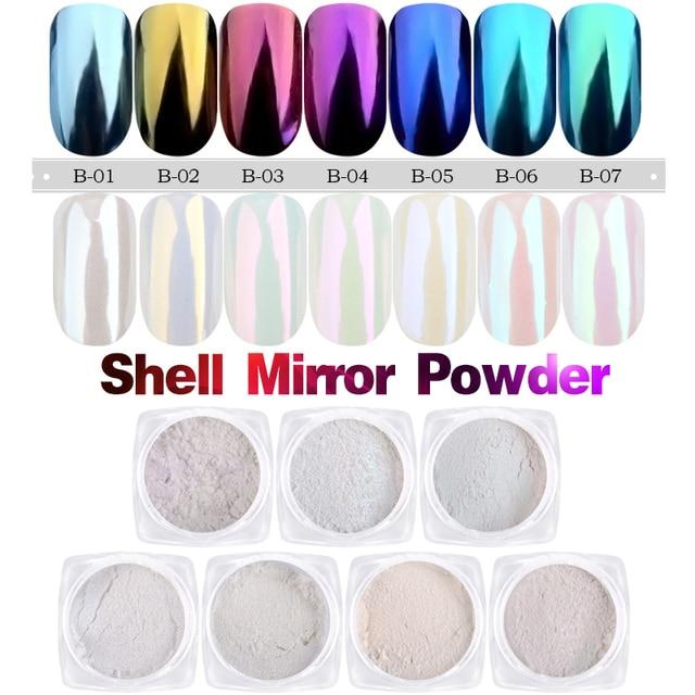 1g/box Shell Nail Mirror Powder Glitters Blue Purple Pigment Dust Manicure Nail Art Glitter Chrome Decorations