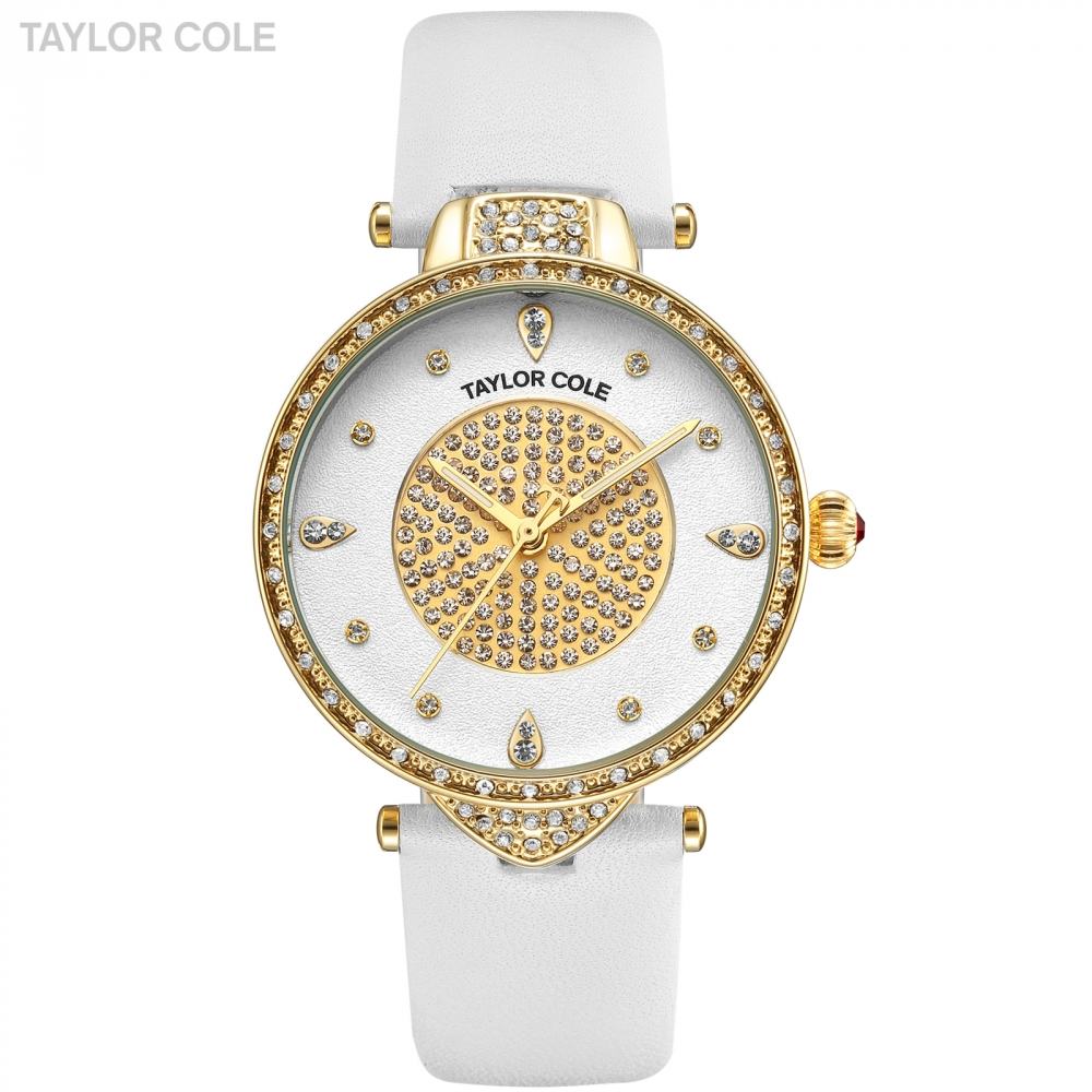 New Taylor Cole Gold Watches Women Fashion Watch Pure White Leather Strap Ladies Quartz Wristwatch Horloges Vrouwen Clock /TC110 2018 new fashion bracelet watch quartz women lady dress wristwatch horloges vrouwen gift box free ship