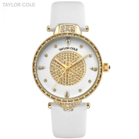 New Taylor Cole Gold Watches Women Fashion Watch Pure White Leather Strap Ladies Quartz Wristwatch Horloges Vrouwen Clock /TC110