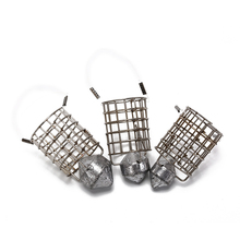 1 PC Fishing Feeder Cage Stainless Steel Feed Holder Lure Trap Basket Bait with Sinker 35g 45g 65g Fish tools