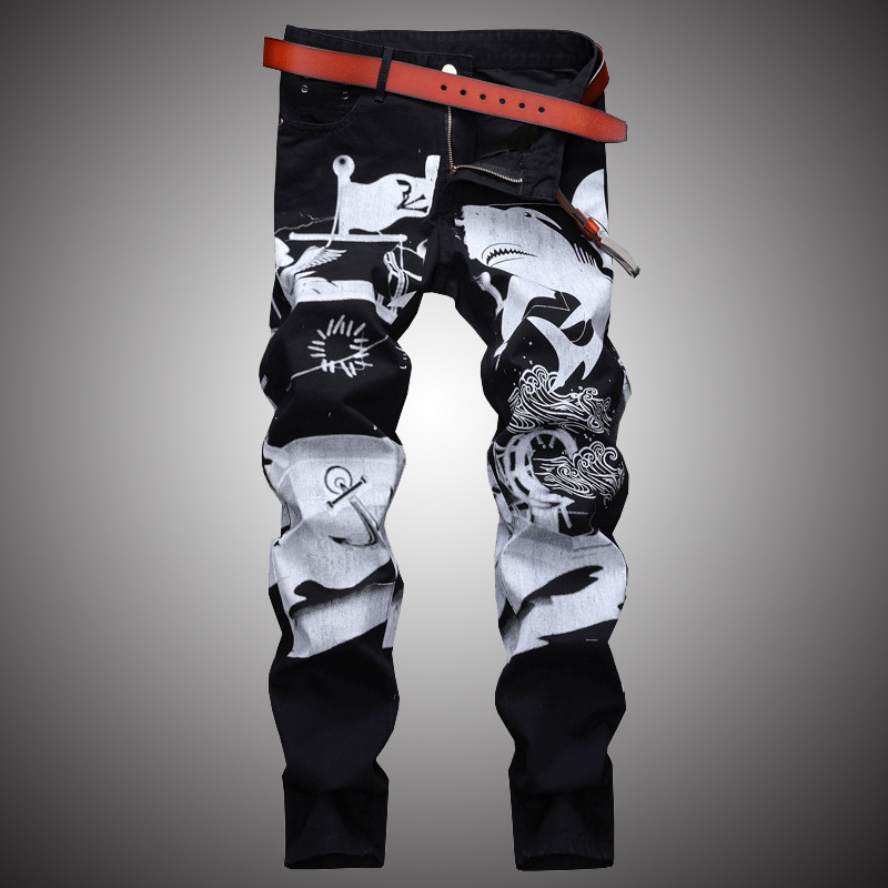 Fashion Print Casual Jeans Pants Men Slim Fit Denim Trousers Jean Joggers 2019 Men Hip Hop Streetwear Pant Clothing Black WA108