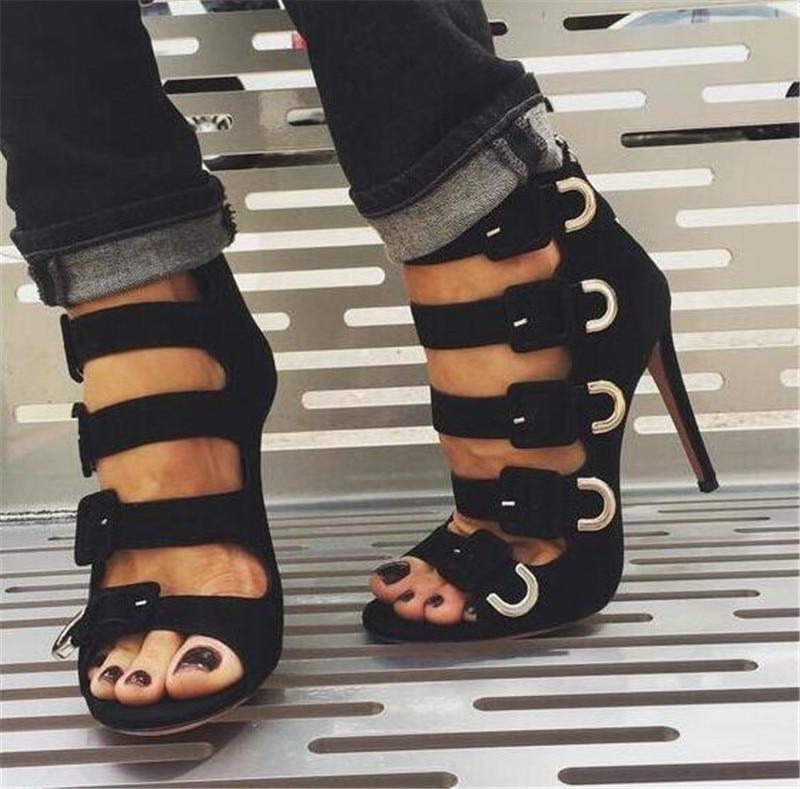 Mujer Hebillas Pictures Altos as Toe Zapatos Tacones Stiletto Embellecido Sandalias Sestito as Verano Negro 5 Vestido Pictures Botas Peep 2018 Gladiador YnfxqEz